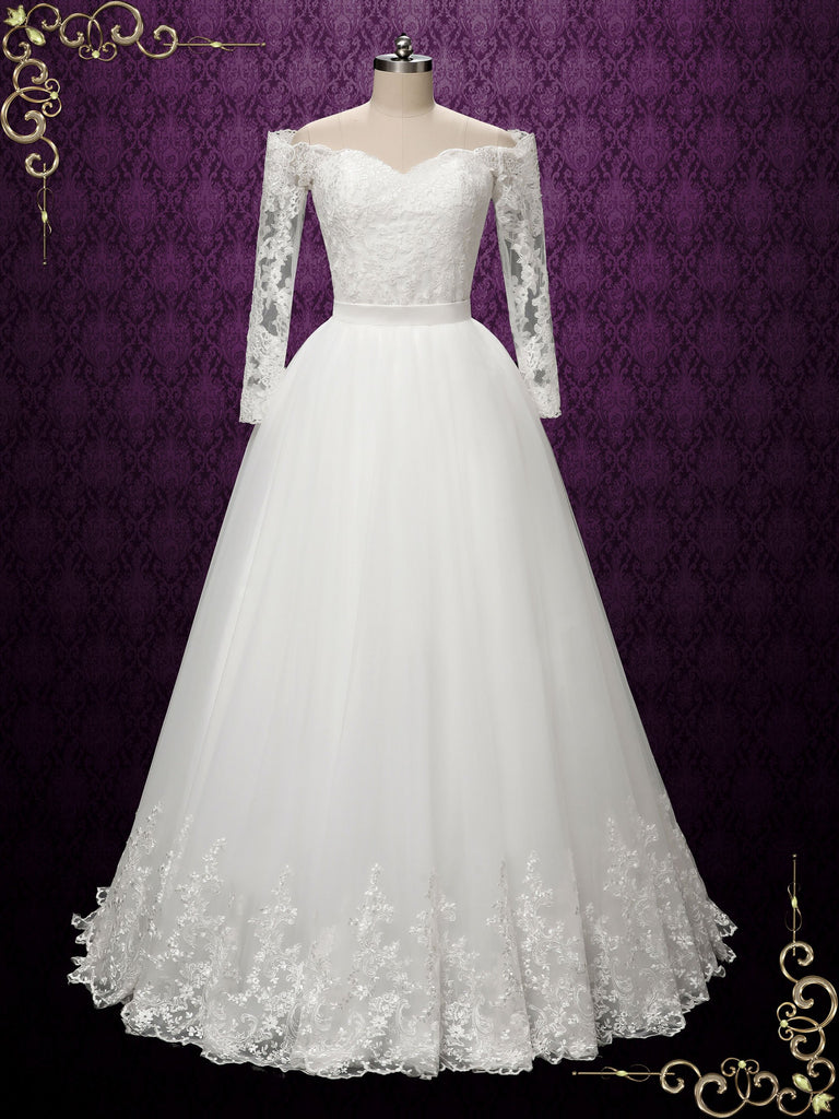 Convertible Lace Wedding Dress with Detachable Skirt | SHELBY