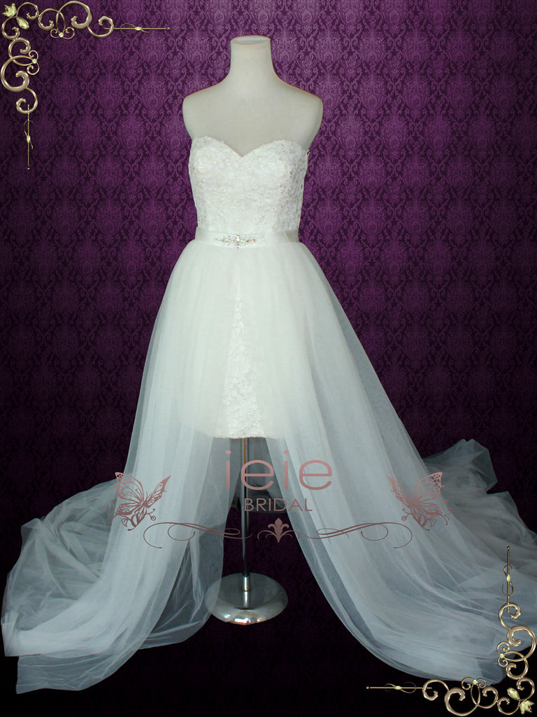 Strapless Convertible Wedding Dress with Tulle Skirt NINA