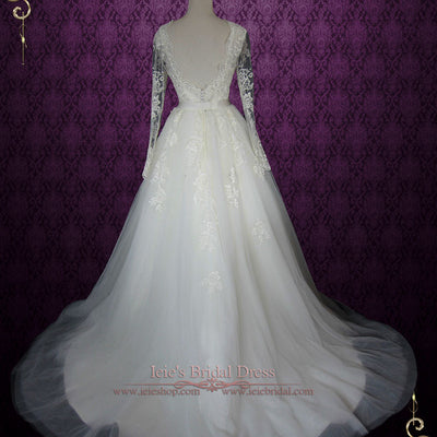 Convertible Lace Wedding Dress with Open Back Long Sleeves and Tulle Skirt
