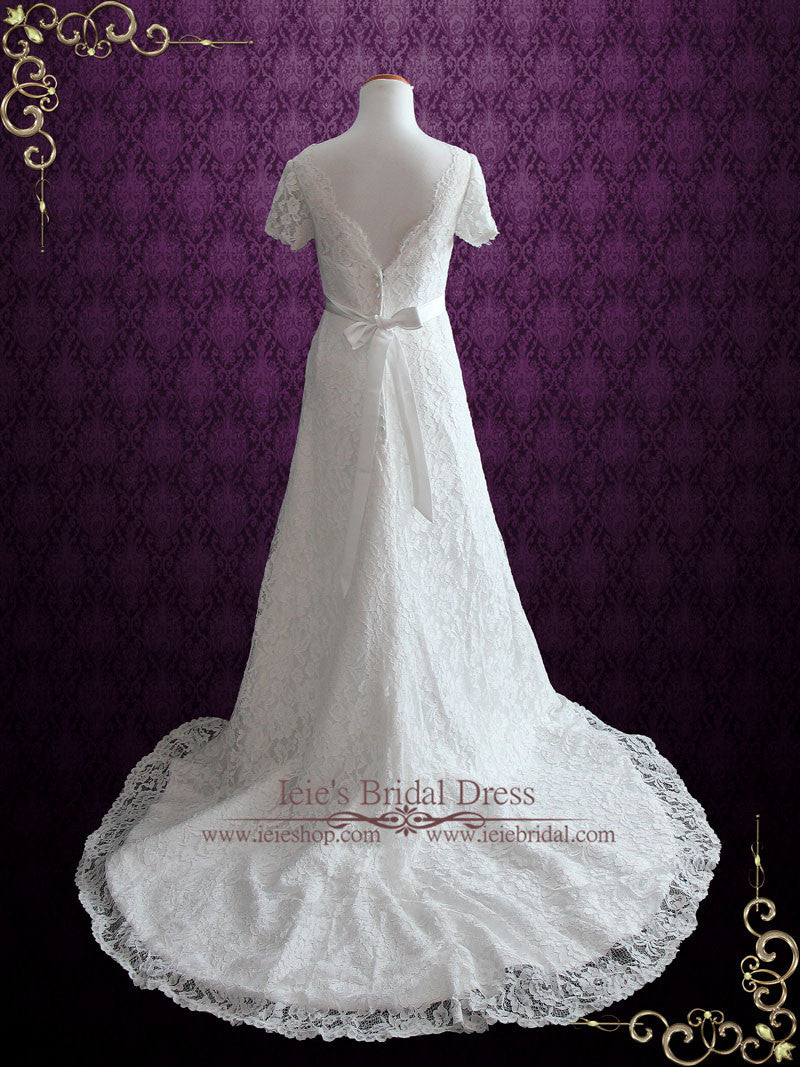 Cotton Lace Wedding Dress With Short Sleeves | Ellenia