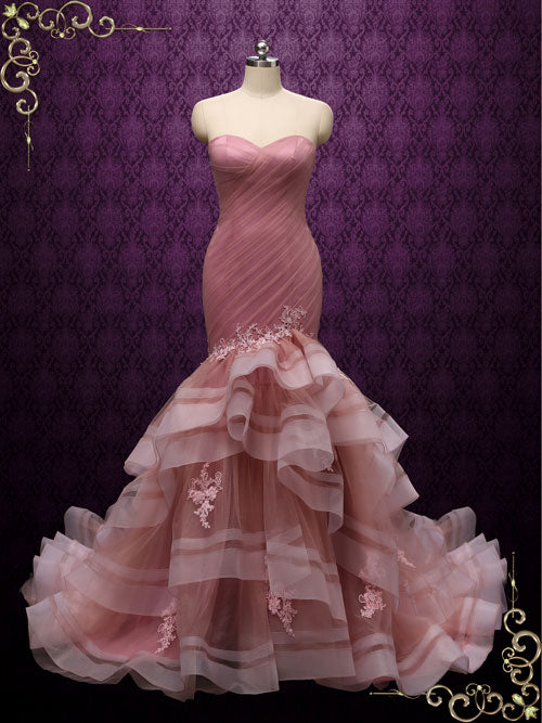 Pink mermaid wedding dress with Ruffles