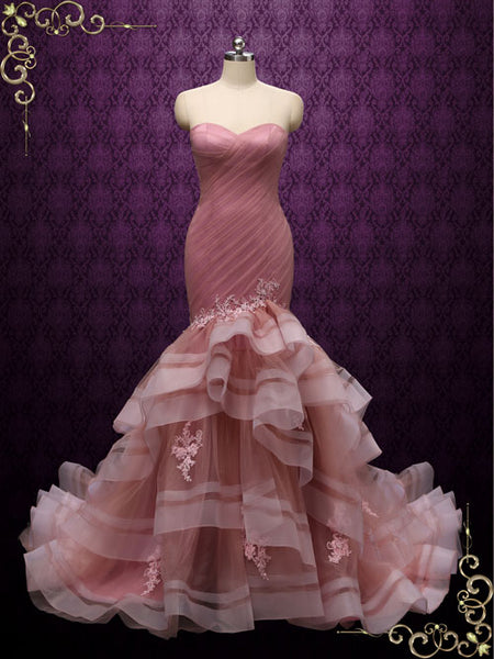 Strapless Dark Pink Mermaid Wedding Dress