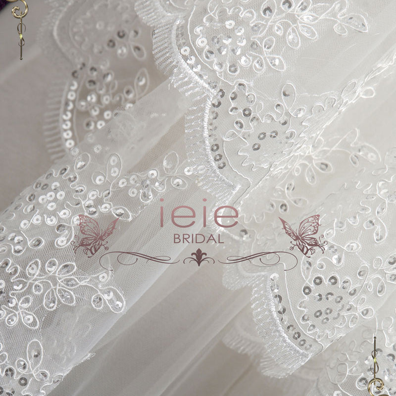 Two Tier Elbow Length Wedding Veil with Sequin Lace | VG2005