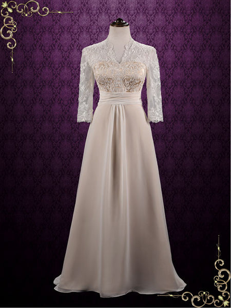 Elegant Slim Chiffon Lace Wedding Dress with Sleeves | Zinnia