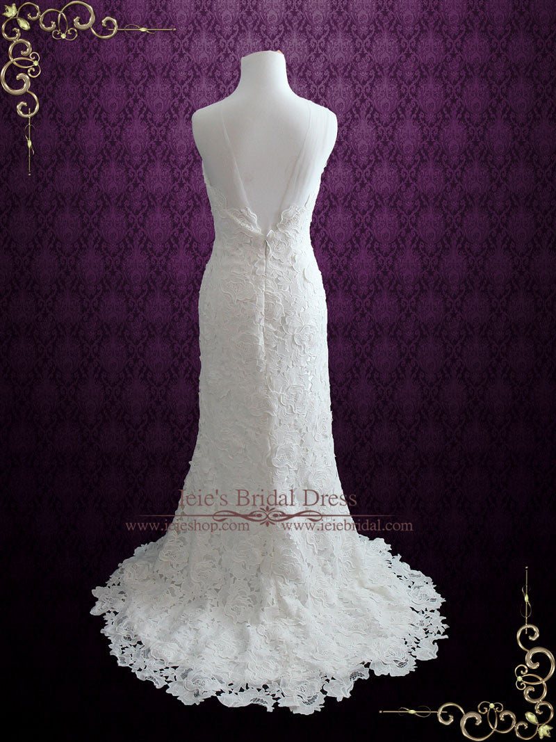 Elegant Vintage Style Garden Rose Lace Wedding Dress | Jordana