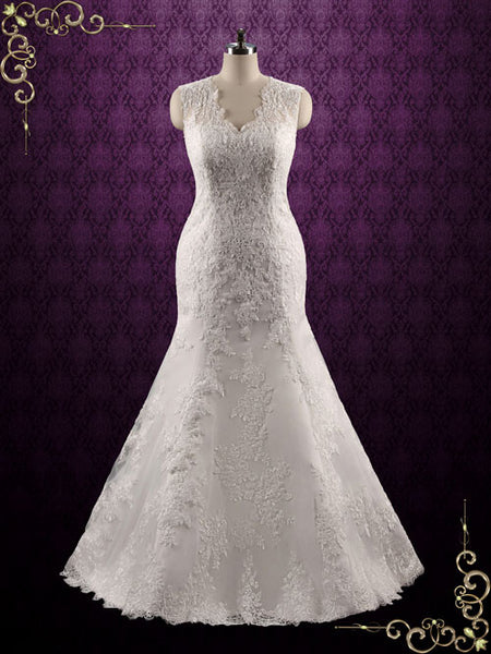 Elegant Lace Fit and Flare Wedding Dress | Joanna