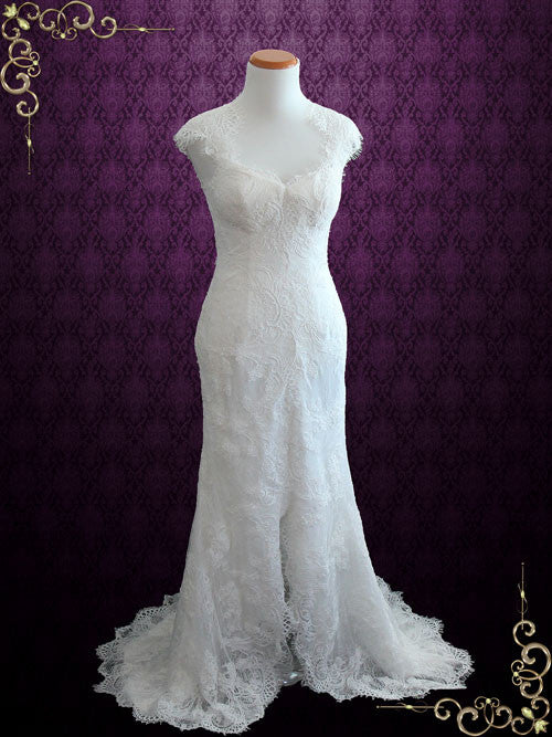 Elegant Keyhole Back French Lace Wedding Dress With Silk Lining Elira