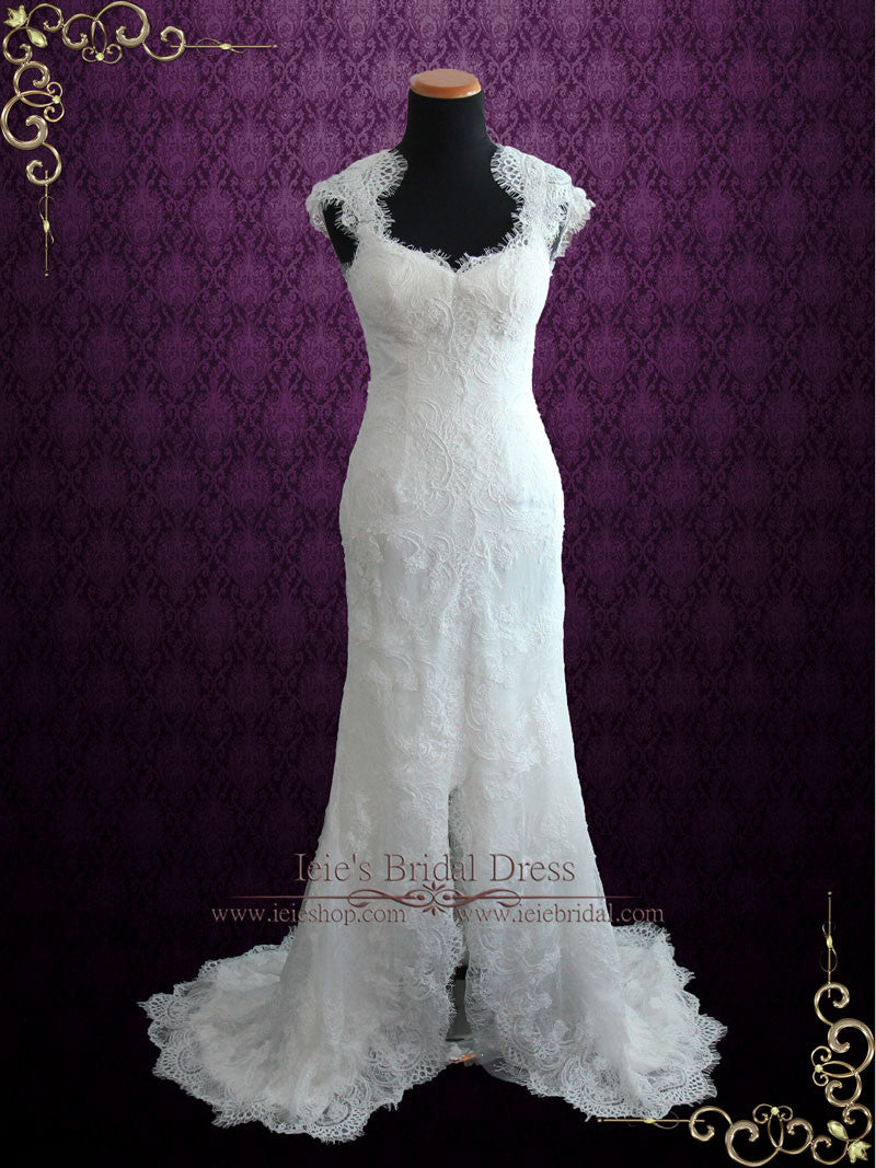 Elegant Keyhole Back French Lace Wedding Dress with Silk Lining | Elira
