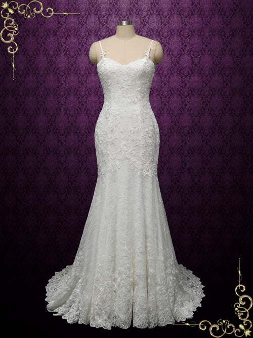 Vintage Lace Wedding Dress with Open Back | Britnee