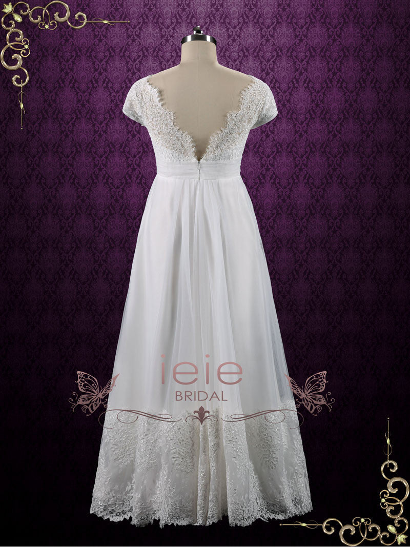 Vintage Queen Anne Empire Waist French Lace Tulle Wedding Dress ...