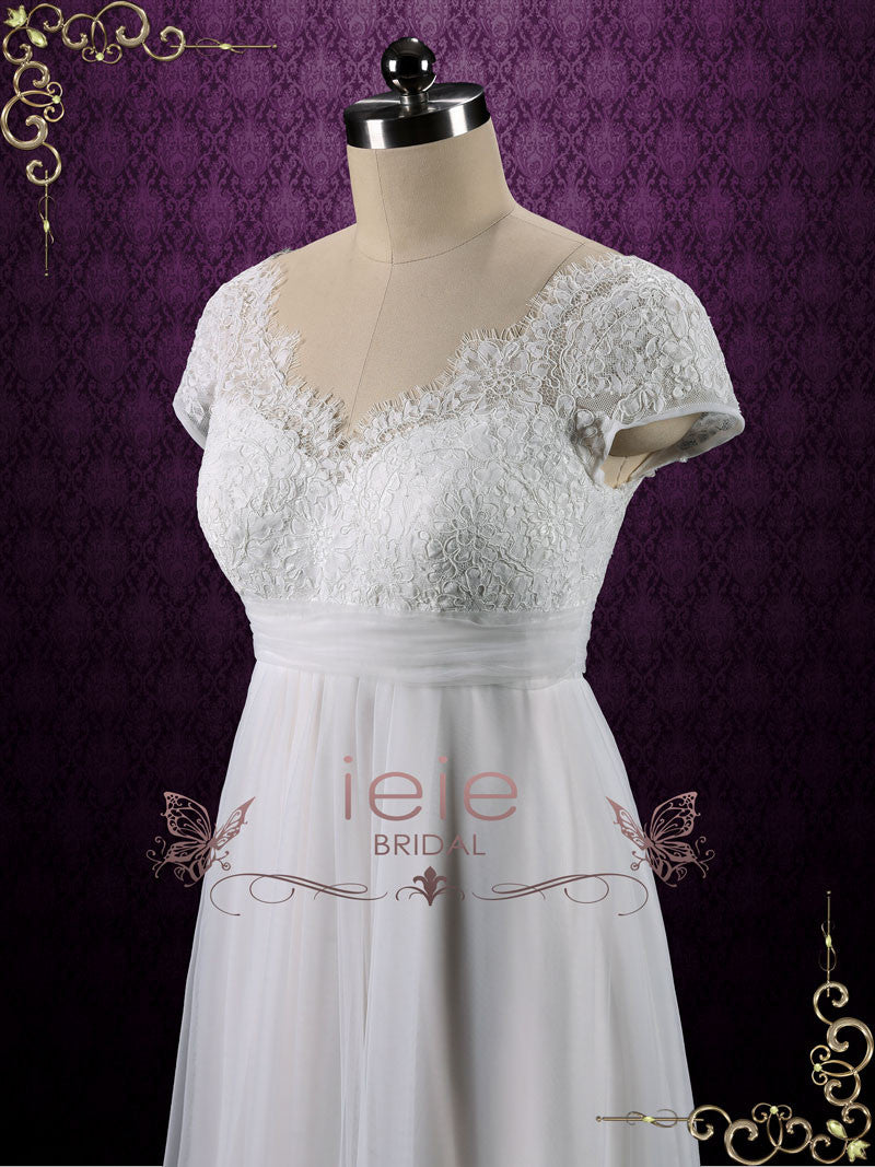 Vintage Queen Anne Empire Waist French Lace Tulle Wedding Dress – ieie