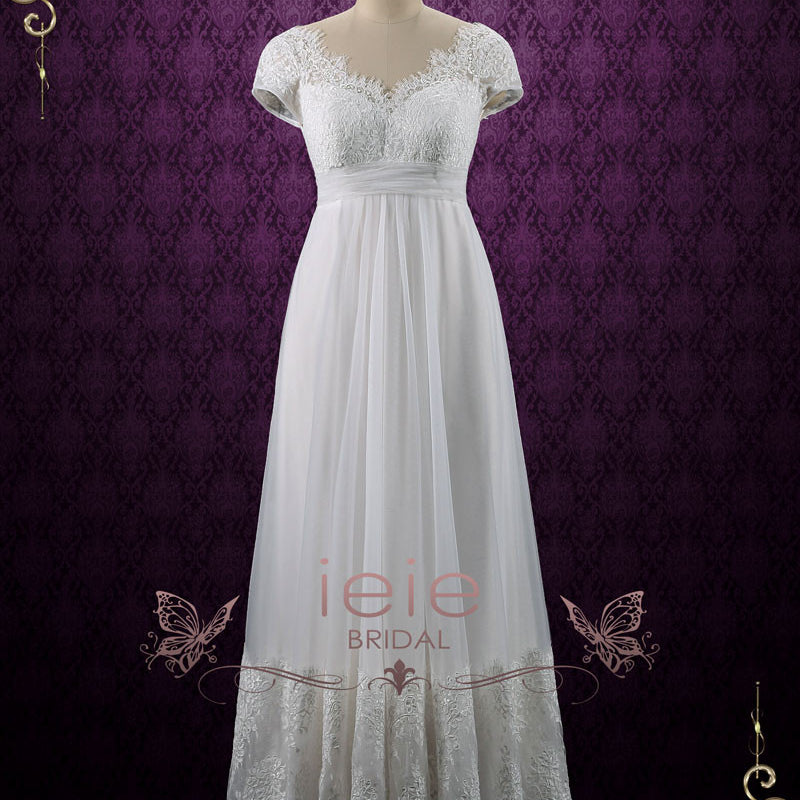 a0ddec44817c Vintage Queen Anne Empire Waist French Lace Tulle Wedding Dress