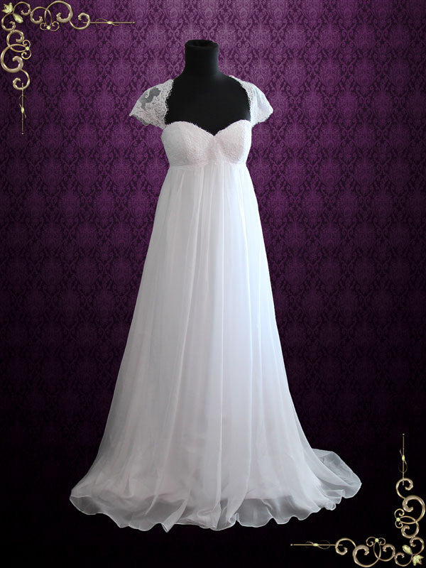 Beach Empire Soft Chiffon Wedding Dress With Cap Sleeves And Keyhole