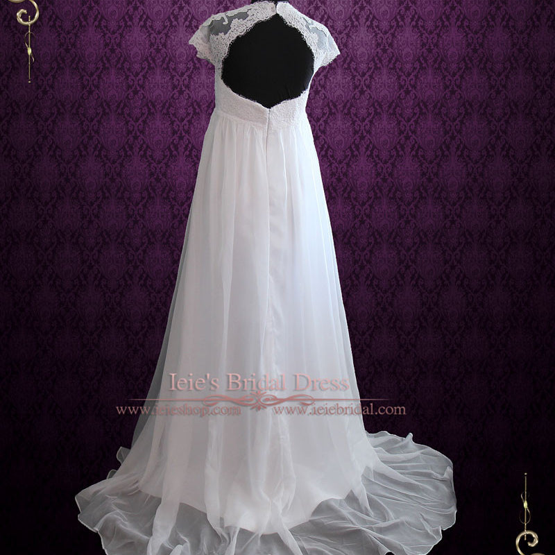 Ready to Ship Size 14 Beach Empire Soft Chiffon Wedding Dress with Cap Sleeves and Keyhole Back | Ellie