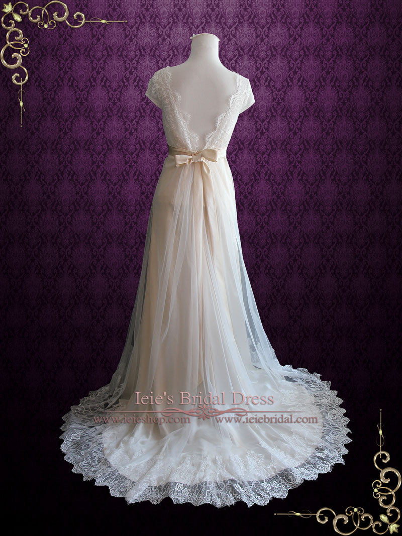 Whimsical Empire Lace Tulle Beach Wedding Dress with Cap Sleeves ...