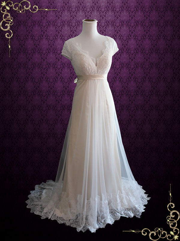 4e7cc9554f Champagne Whimsical Empire Lace Wedding Dress with Cap Sleeves and Open  Back | Charissa
