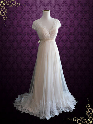 Champagne Whimsical Empire Lace Wedding Dress with Cap Sleeves and Open Back | Charissa