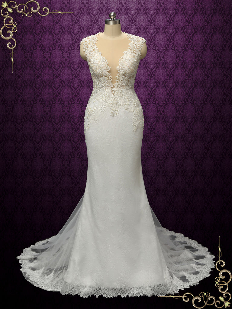 Luxurious Vintage Style Fitted Lace Wedding Dress | ENICE