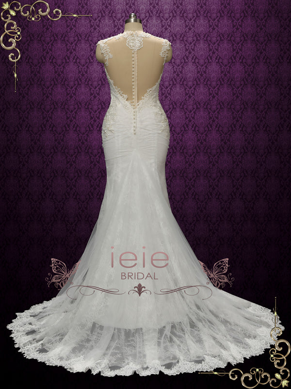 Luxurious Vintage Style Fitted Lace Wedding Dress with illusion back | ENICE