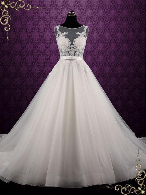 Ball Gown Style Lace Wedding Dress with Stunning Open Back | Reniza