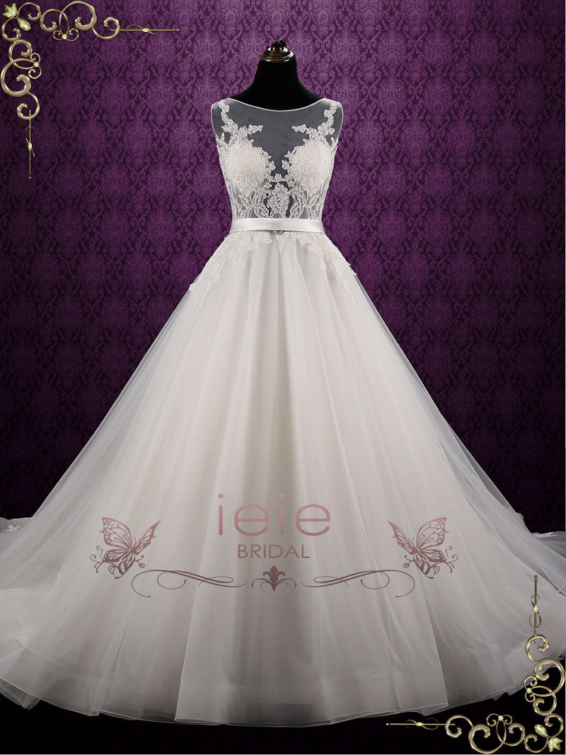 Ball Gown Style Lace Wedding Dress with Stunning Open Back | Reniza ...