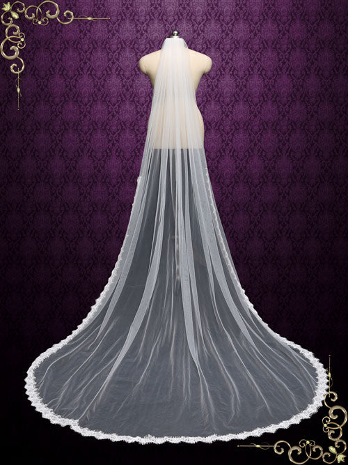 Cathedral Length Wedding Veil with Eyelash Lace from Midway VG1062