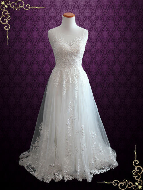 Fairytale Lace Wedding Dress With Illusion Neckline Iris