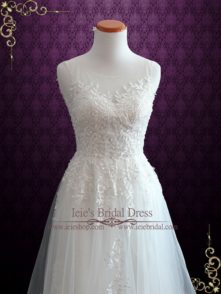 Fairytale Lace Wedding Dress with Illusion Neckline | Iris