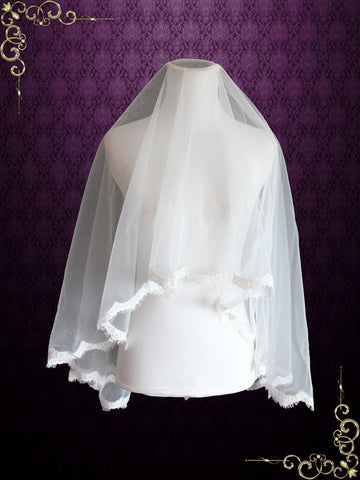 Fingertip Length Mantilla Wedding Veil with Eyelash Edge | VG1073