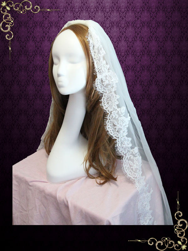 One Layer Finger Tip Eye Lash Lace Wedding Veil  VG1047