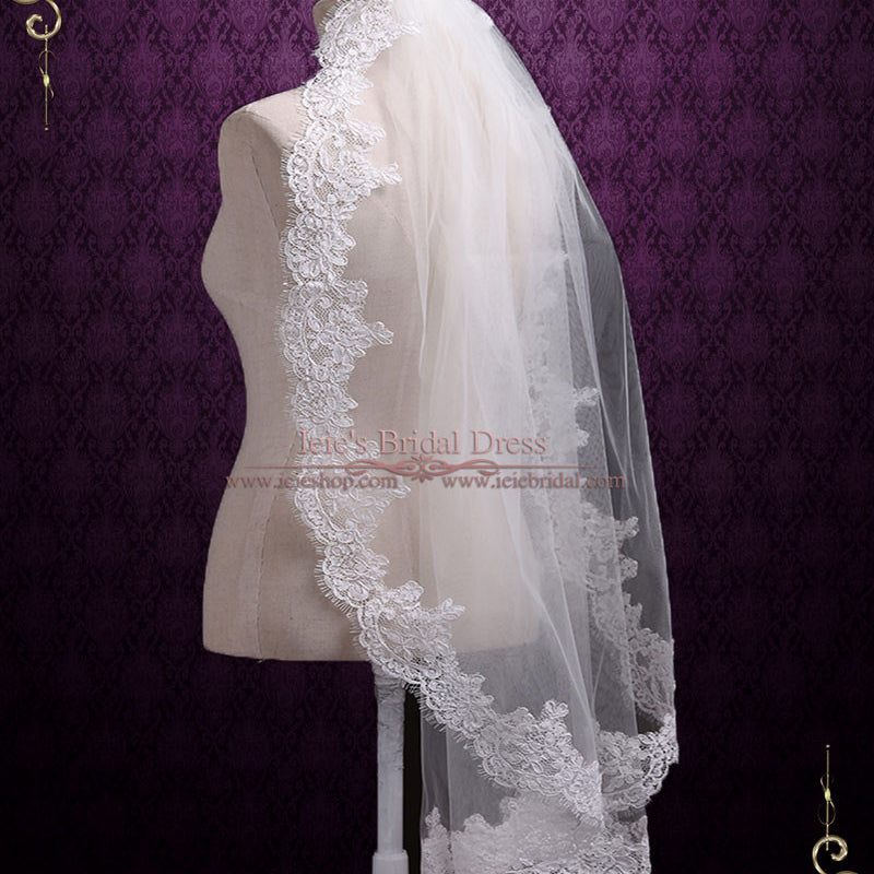 One Layer Finger Tip Eye Lash Lace Wedding Veil