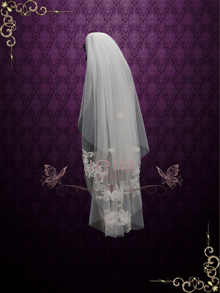 Two Tier Fingertip Lace Bridal Wedding Veil with Flower Applique VG1017