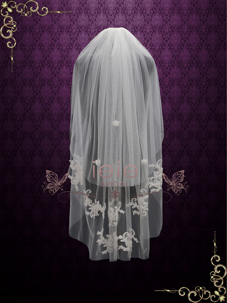 Two Tier Fingertip Lace Bridal Wedding Veil with Flower Applique | VG1017