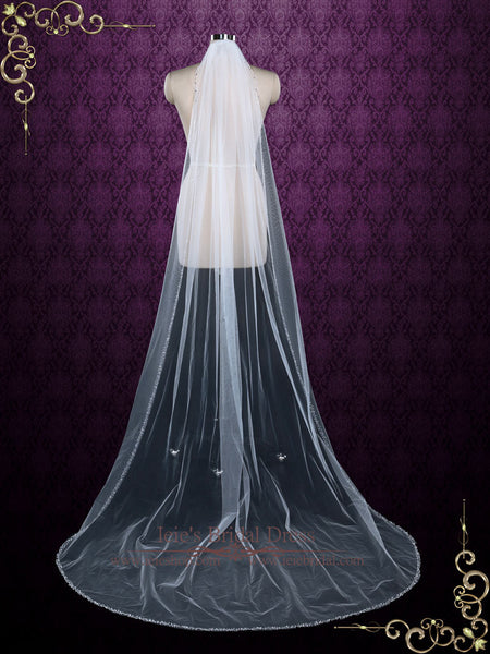 Chapel Length Single Layer Tulle Veil with Beaded Edge