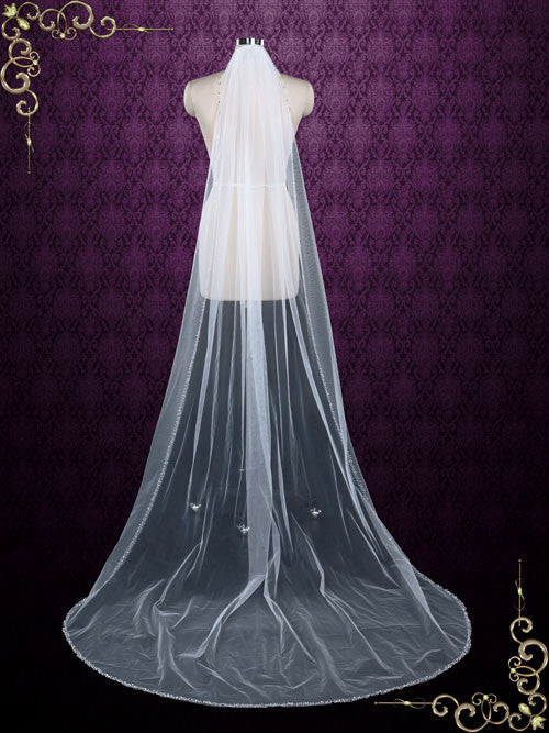 Chapel Length Single Layer Tulle Veil with Beaded Edge | VG1063