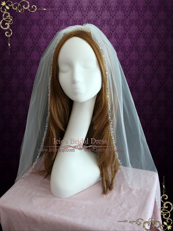 Fingertip Wedding Veil with Beaded Edge