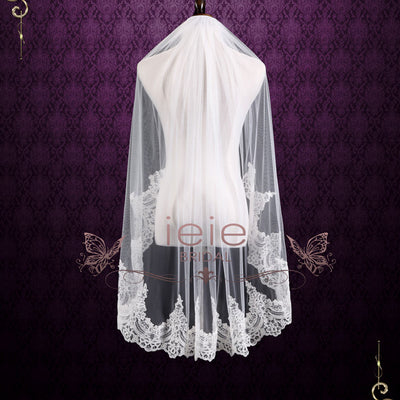 Fingertip Wedding Veil with Half Lace | VG2003