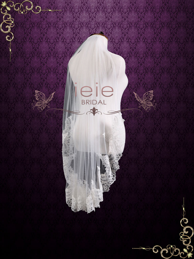 Fingertip Wedding Veil with Half Lace VG2003