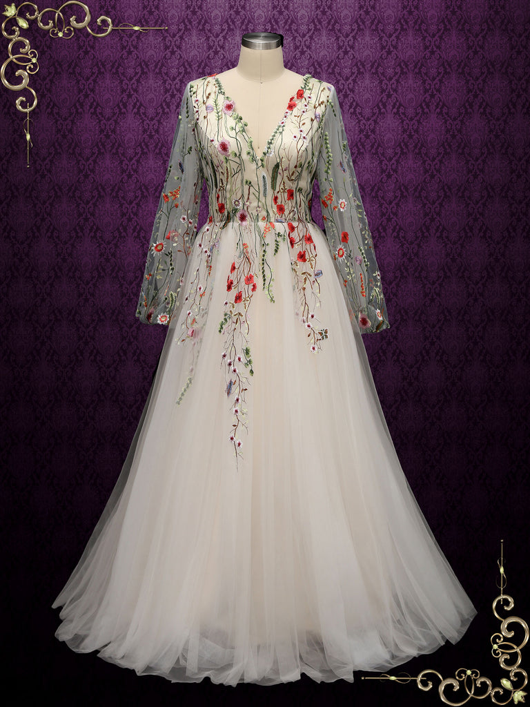 Colored Floral Lace Wedding Dress with Sleeves ALBA