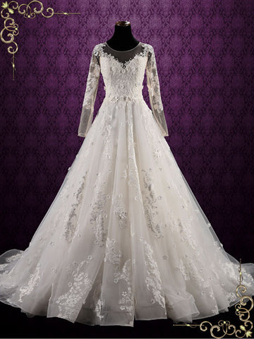 Floral Lace Ball Gown Wedding Dress with Sleeves | Petunia