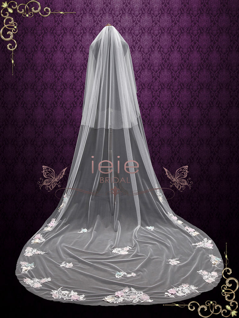 Cathedral Long Wedding Veil with Colored Flowers and Lace VG1095