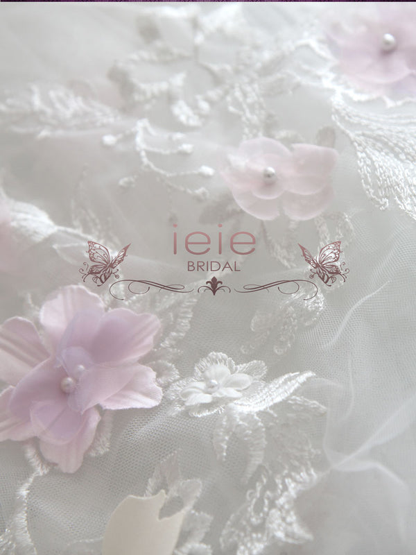Cathedral Long Wedding Veil with Colored Flowers and Lace | VG1095