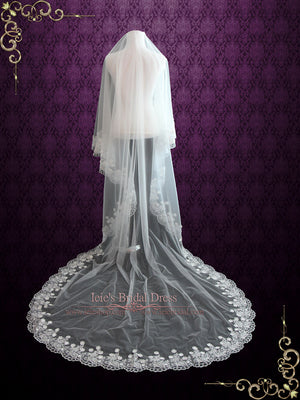 Cathedral Length Floral Lace Mantilla Wedding Veil with Soft Tulle | VG1051