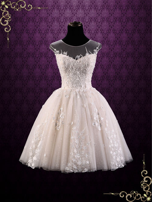 Vintage Lace Short Wedding Dresses with Boots