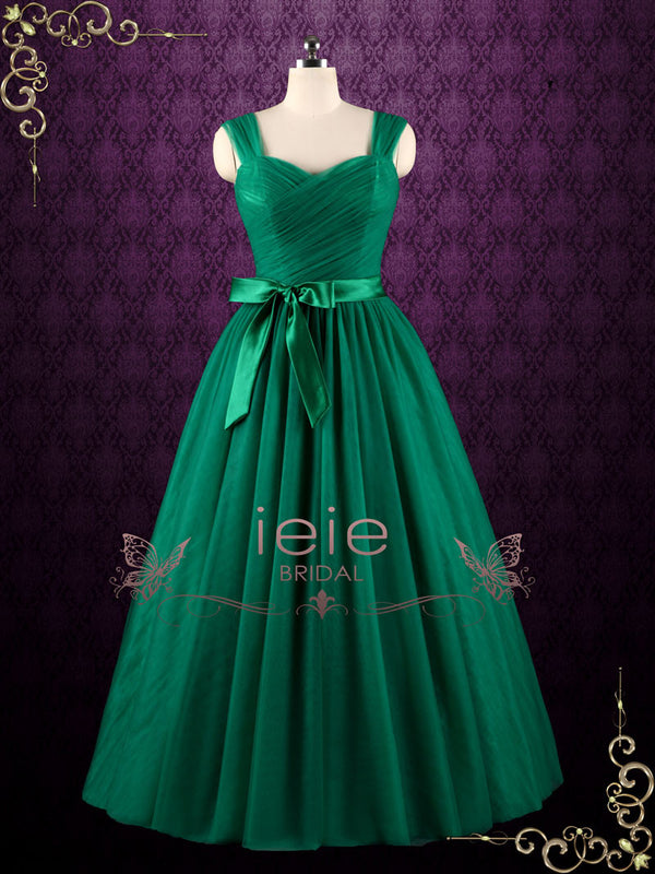 Forest Green Tulle Ball Gown Prom Formal Evening Dress | Kale