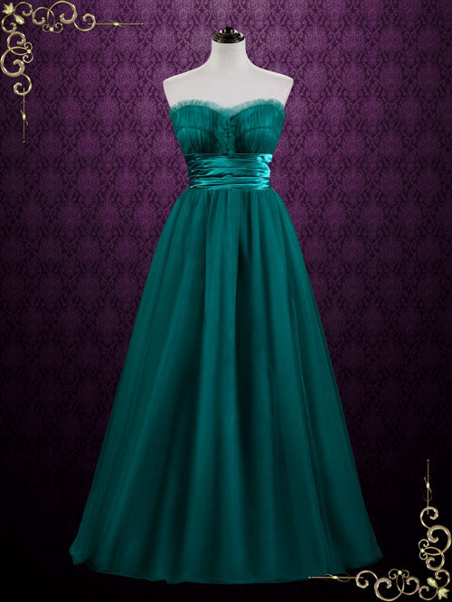 Green Strapless Long Tulle Formal Dress | Agale