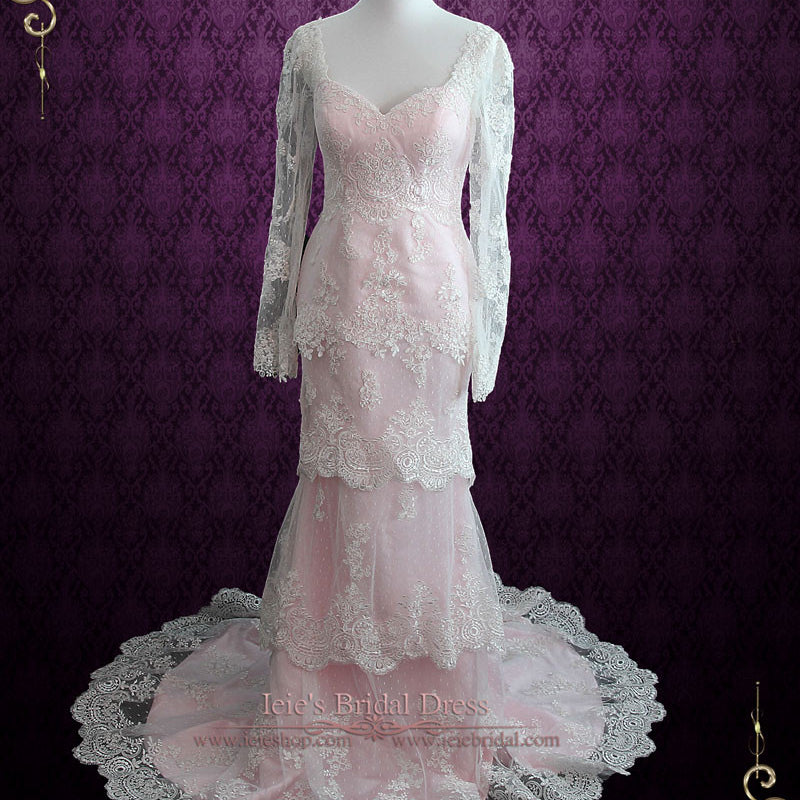 Pearl Pink Tiered Lace Wedding Dress with Long Sleeves | Monaco