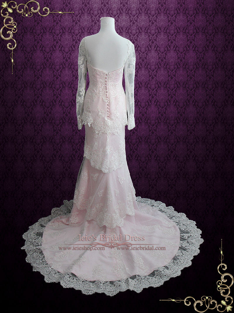 Pearl Pink Tiered Lace Wedding Dress With Long Sleeves