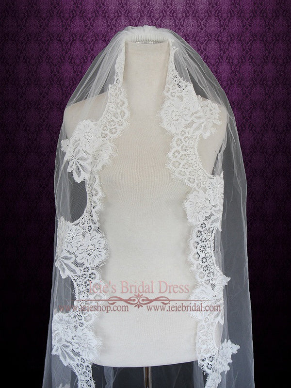 Waltz Length French Alencon Lace Wedding Veil