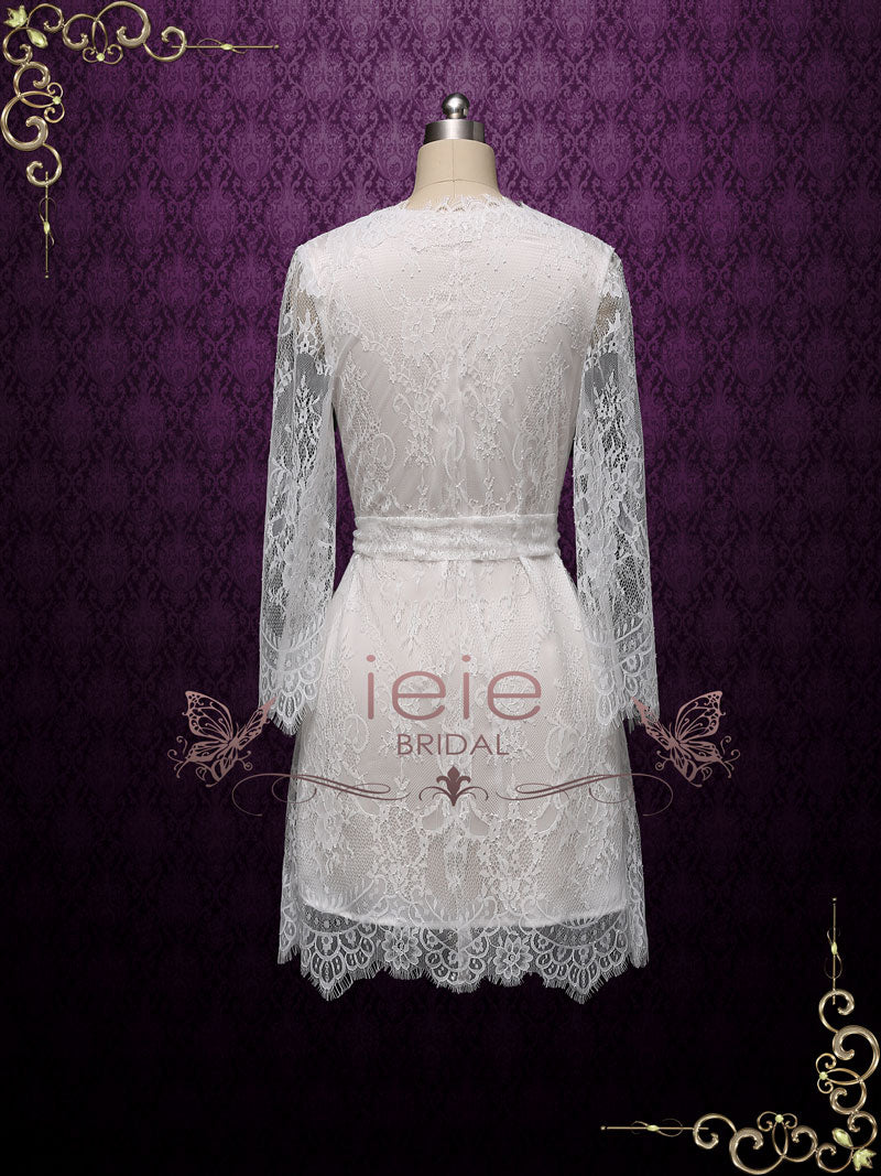 Short Wedding Bridal Boudoir Robe with Long Sleeves | Clarise